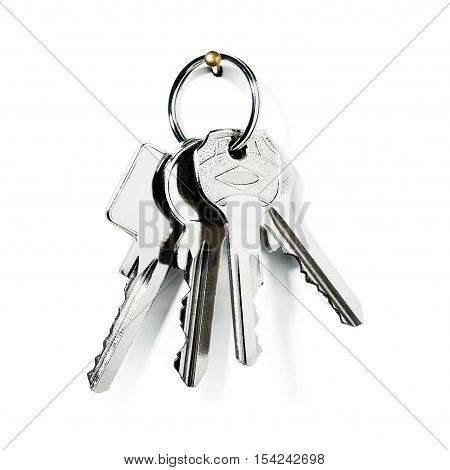 Key ring with new keys on on white background clipping path included