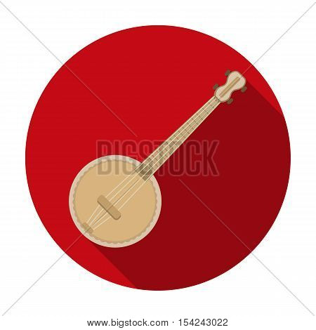 Banjo icon in flat style isolated on white background. Musical instruments symbol vector illustration