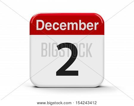 Calendar web button - The Second of December - International Day for the Abolition of Slavery three-dimensional rendering 3D illustration