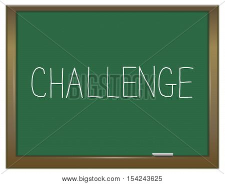 Illustration depicting a green chalkboard with a challenge concept.
