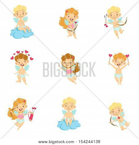 Baby Cupids With Bows, Arrows And Hearts Set. Cute Cartoon Infants In Diapers With Wings And Love Symbols Illustrations On White Background.