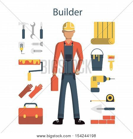 Isolated male builder on white background. Young engineer with all the tools like drill, hammer, screwdriver, gloves, paint and more.