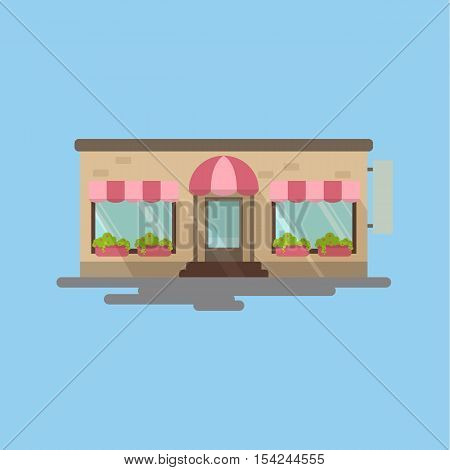 Isolated cafe storefront on blue background. Beautiful facade of building with windows, plants and doors. Idea of shops, cafes, restaurants and more.