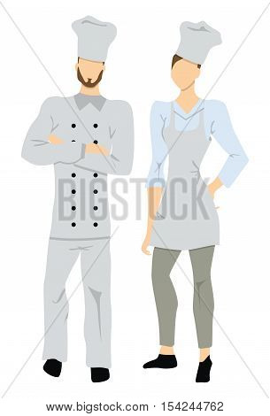 Isolated professional chefs on white background. Male and Female chefs in white uniform and chef hats.
