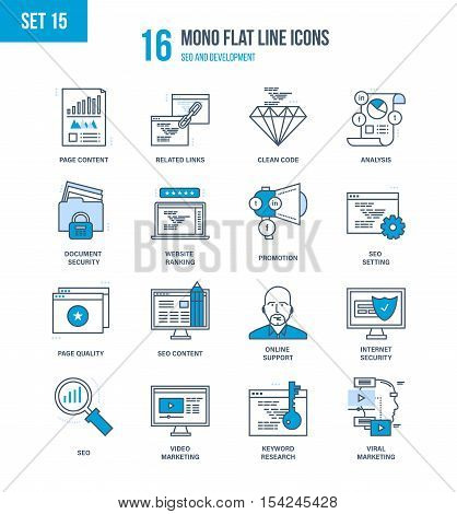 Mono Flat Line icons set of seo and data safety, development, technology, analytics search information and website SEO optimization, marketing, security, support. Vector illustration. Editable Stroke