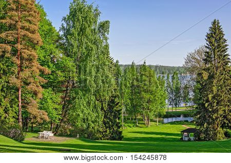 Beautiful garden with green lawn relax place and pond