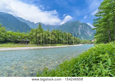 Hotaka Mountain And Azusa River In Kamikochi, Nagano, Japan