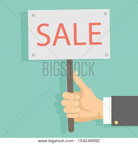 Hand with sale sign. Isolated red sign. Concept of garage sale or black friday.