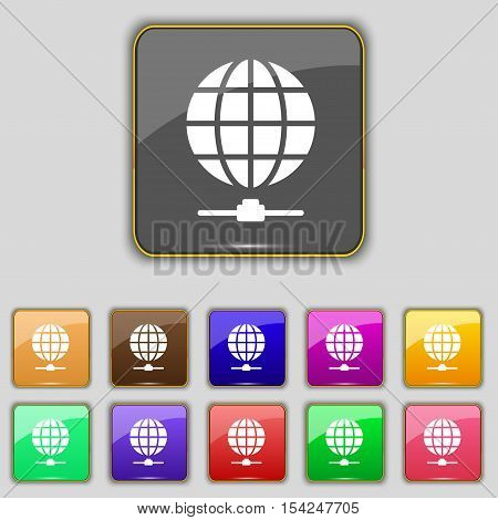 Website Icon Sign. Set With Eleven Colored Buttons For Your Site. Vector