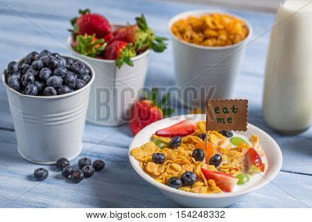 Healthy breakfast ready to eat on wooden table
