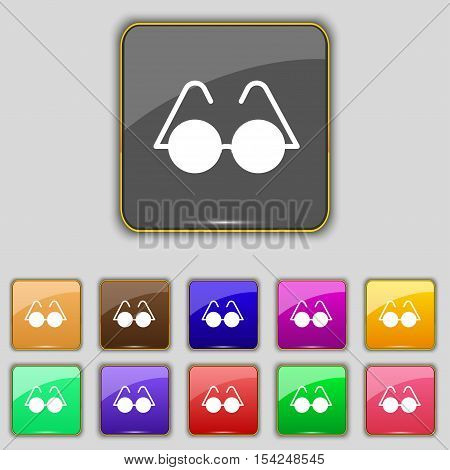Glasses Icon Sign. Set With Eleven Colored Buttons For Your Site. Vector