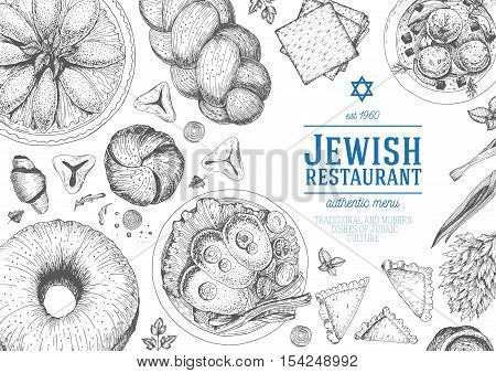 Jewish cuisine top view frame. Jewish food menu design. Kosher food. Vintage hand drawn sketch vector illustration. Linear graphic