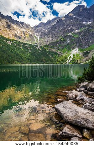 Beautiful lake in Tatra Mountains in summer