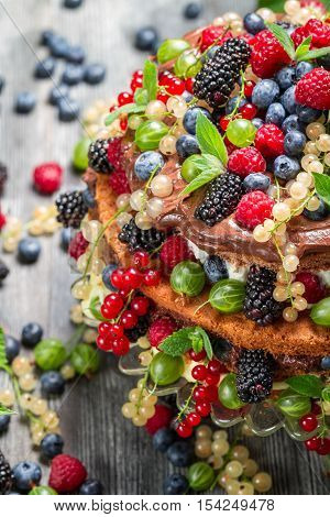 Cake Made Of Wild Fresh Berry Fruits