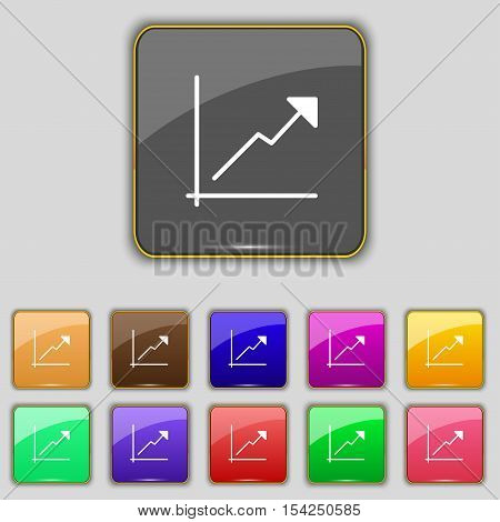 Chart Icon Sign. Set With Eleven Colored Buttons For Your Site. Vector
