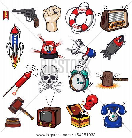 Comics decorative elements set with weapon and rockets tv radio megaphone alarm clock gavel isolated vector illustration