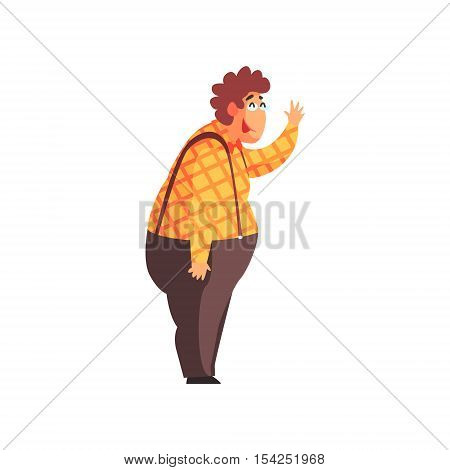 Flamboyant Know-it-all Guy Character In Checked Orange Shirt And Suspenders. Graphic Design Cool Geometric Style Isolated Drawing On White Background