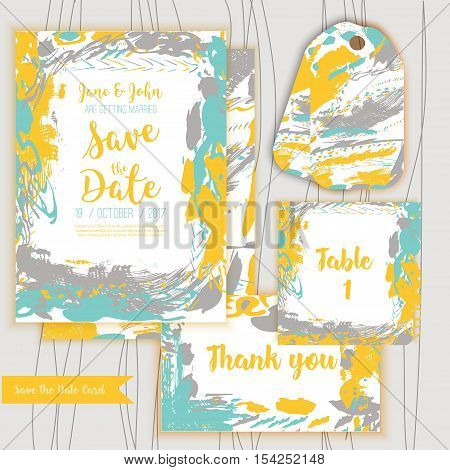 Save the date freehand card with hand drawn background. Modern Stock vector. Invitation design with thank you and Table card