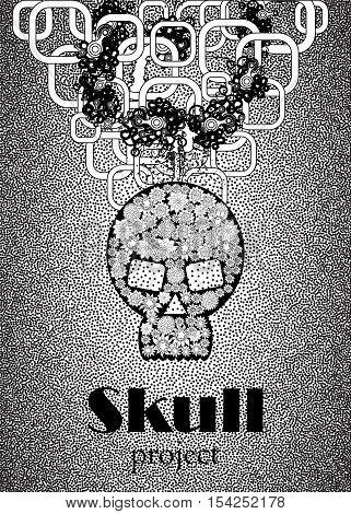 Skull in floral style your concept design. Black n White. Vector illustration.