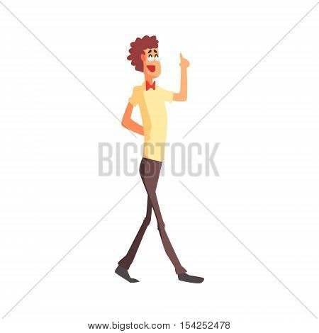 Flamboyant Thin And Tall Know-it-all Guy Character. Graphic Design Cool Geometric Style Isolated Drawing On White Background