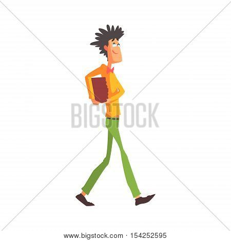 Flamboyant Know-it-all Guy Character Carrying Books. Graphic Design Cool Geometric Style Isolated Drawing On White Background