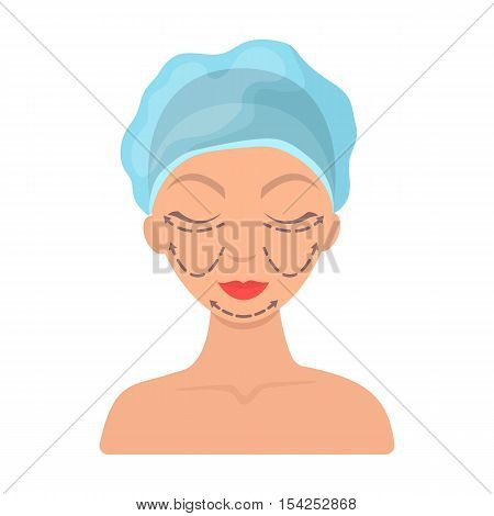 Cosmetic plastic surgery icon in cartoon style isolated on white background. Skin care symbol vector illustration.