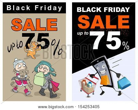 Black Friday sale up 75 percent discount. Funny vector cartoon illustration