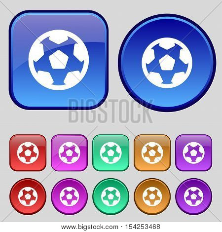 Football, Soccerball Icon Sign. A Set Of Twelve Vintage Buttons For Your Design. Vector