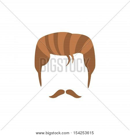 Hipster Male Hair and Facial Hair Style With Staline Moustache.Hair, Beard And Moustache Style Design Template
