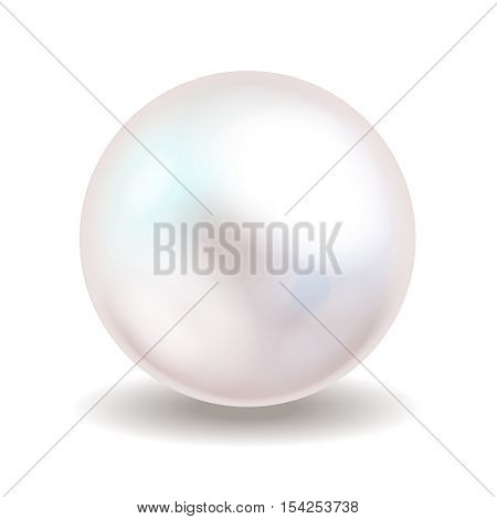 Sea pearl isolated on white background. Shiny oyster pearl ball for luxury accessories. Vector illustration.