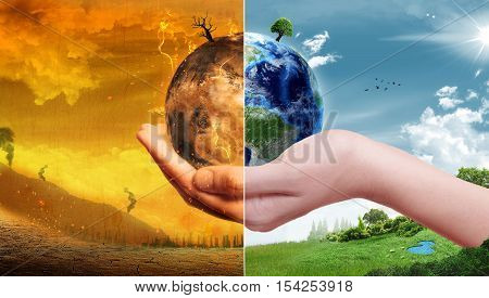 Global Warming and Pollution Concept - Sustainability (Elements of this image furnished by NASA) 3D Illustration