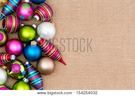 Colorful Array Of Christmas Decorations On Burlap