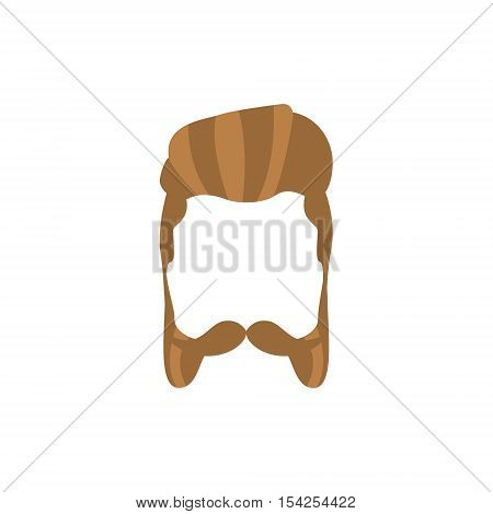 Hipster Male Hair and Facial Hair Style With Mutton Chops.Hair, Beard And Moustache Style Design Template