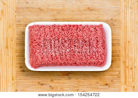 Close Up On A Container Of Fresh Ground Beef