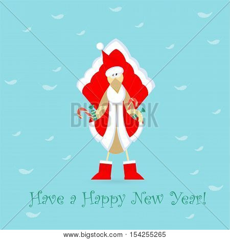 Cute Cockerel in Santa Claus Dress with Pockets Full of Sweets Placed on the Blue Background with White Feathers. China Calendar Horoscope Symbol. 2017 Animal