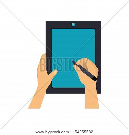 hands writing in tablet with a optical pen