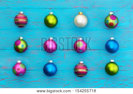 Arrangement Of Colorful Christmas Balls On Blue