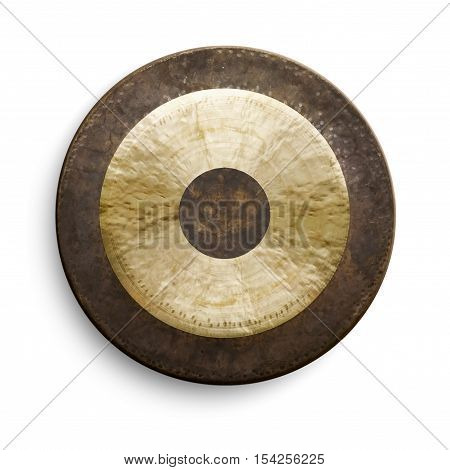 Traditional oriental gong on white background front view