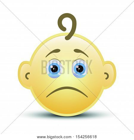 Baby sad smile icon on the white background, vector