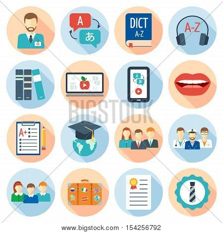 Icons set for foreign language courses and schools. Flat design. Vector illustration