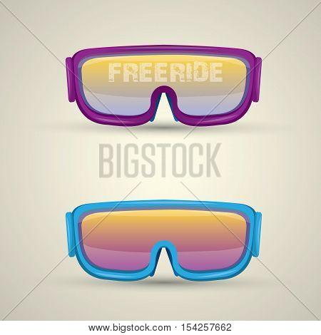 vector Ski goggles icon. vector snowboard mask icon