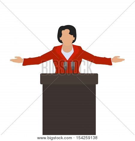 A woman politician a woman speaker on the podium. Vector