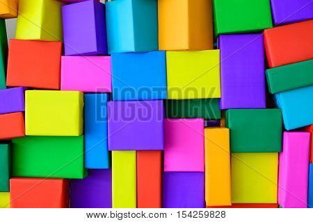Superimposed of colorful paper boxes, background - Stock Photo