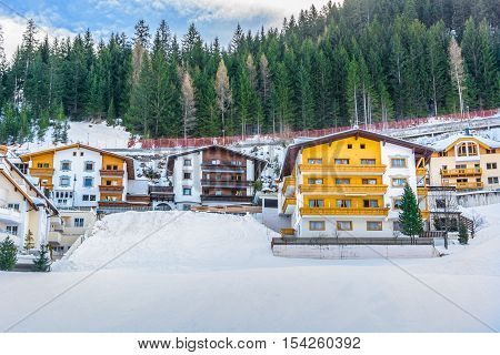 View at traditional inter houses in Ischgl, Austria.