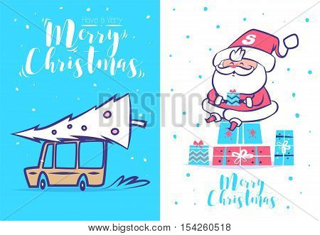 Merry christmas and Happy new year illustrations. Santa Claus and gifts. Car driven with xmas tree. Christmas greeting card background poster.