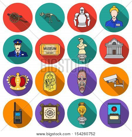 Museum set icons in flat style. Big collection of museum vector symbol stock