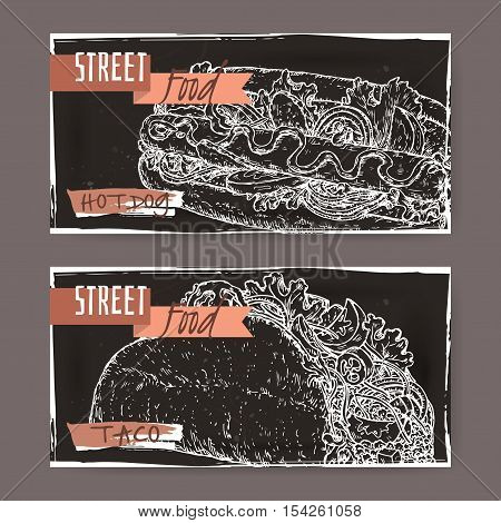 Set of two landscape banners with hot dog and taco sketch on black grunge background. American and Mexican cuisine. Street food series. Great for market, restaurant, cafe, food label design.