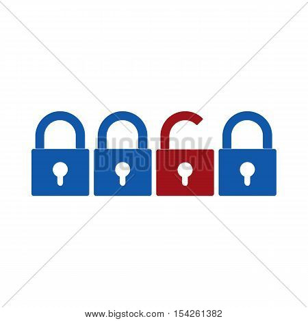 Closed and opened locks icons vector illustration