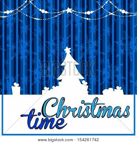 white blue christmas background with a silhouette of a Christmas tree