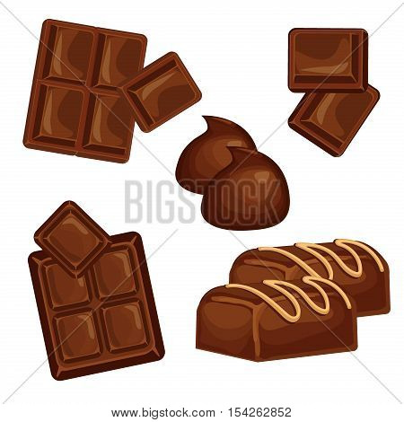 Chocolate bars and pieces set. Sweet brown candy chocolate gourmet delicious. Tasty ingredient sugar chocolate dessert food candy cocoa isolated. Chocolate dessert bar milk black eat design.